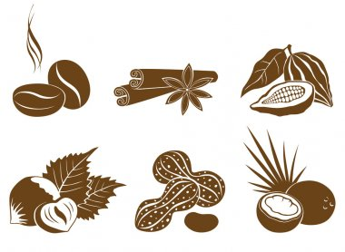 Set of vector icons dessert ingredients