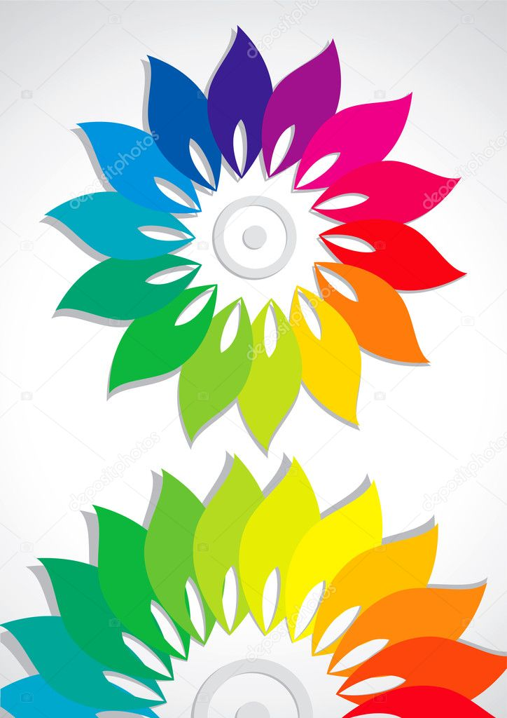 Abstract flower colors of the rainbow