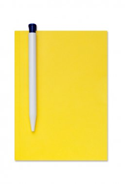 Isolated notebook with a pen. Clipping path.