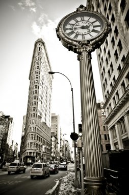 The wide-angle view of Flatiron building in New York
