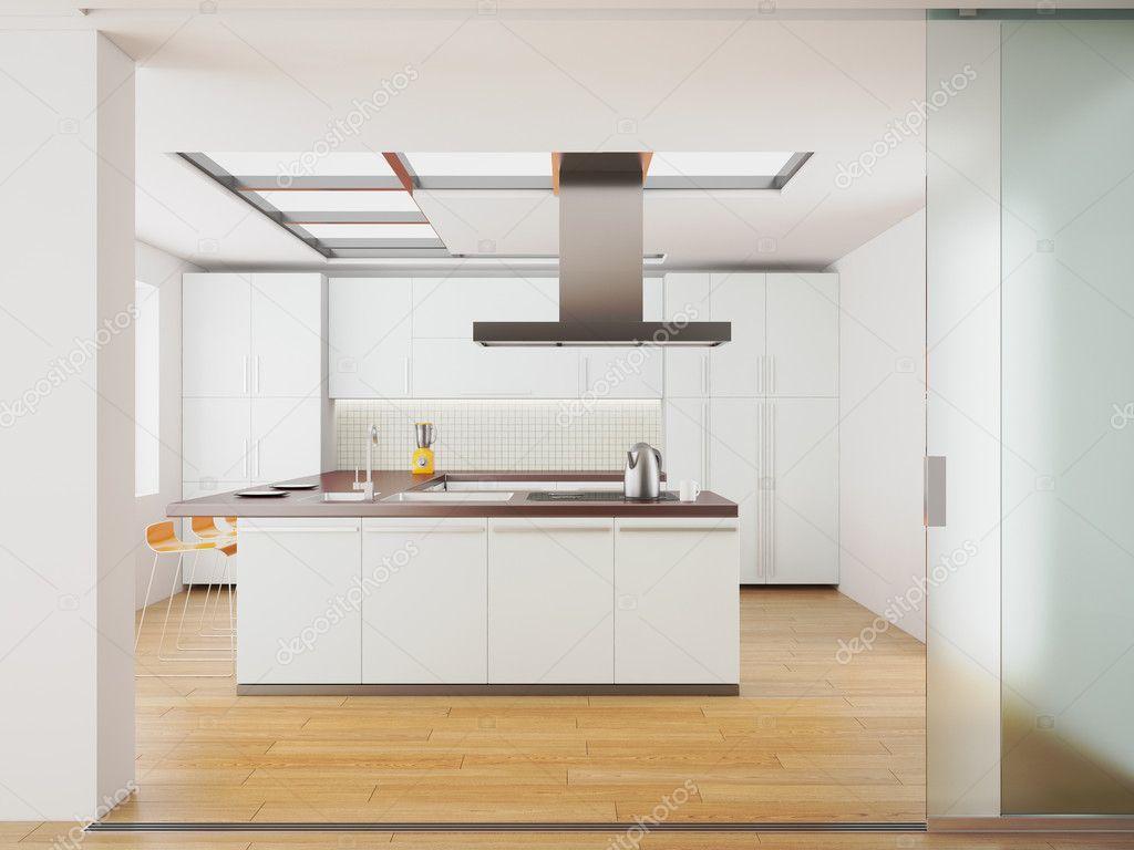 Großartig Küche Modern Weiss Sammlung Von 3d Render Weiß Küche — Foto Von