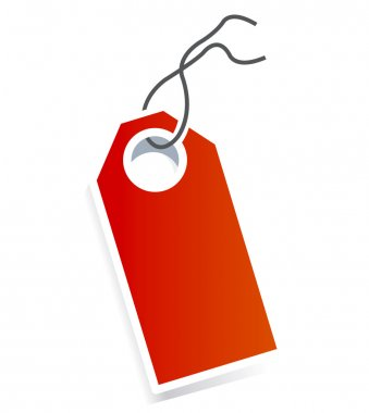 Red card price tag on white background.