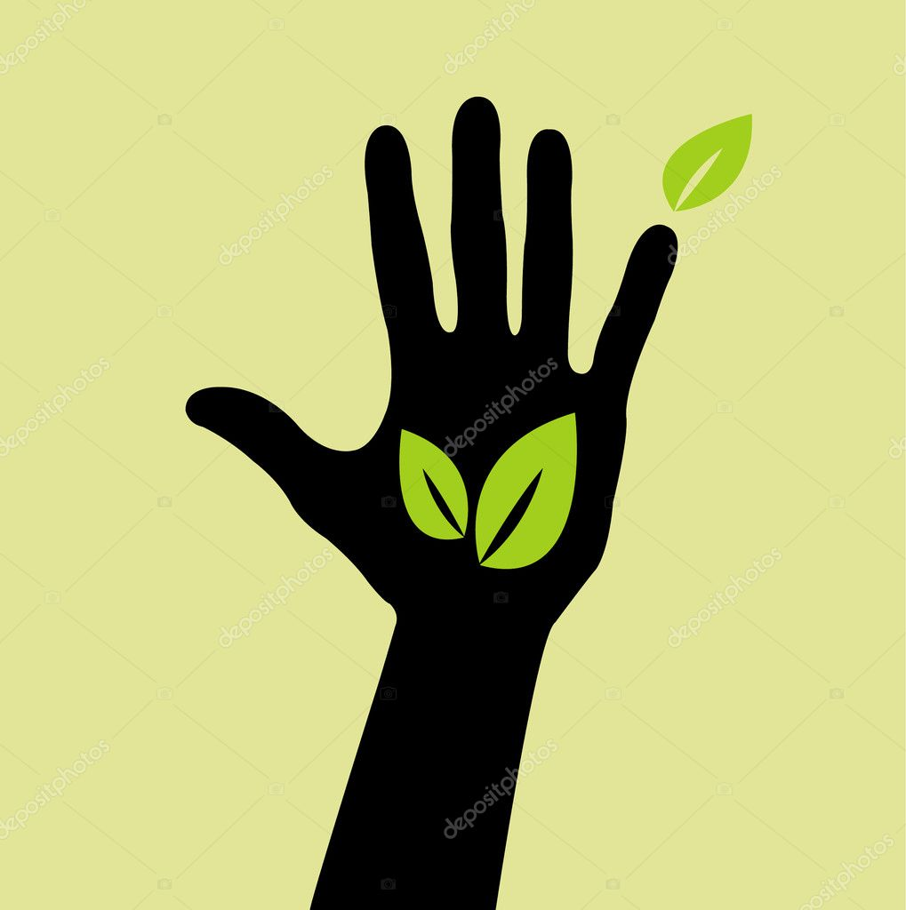 Hand with leaf sign