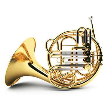Gold French horn isolated
