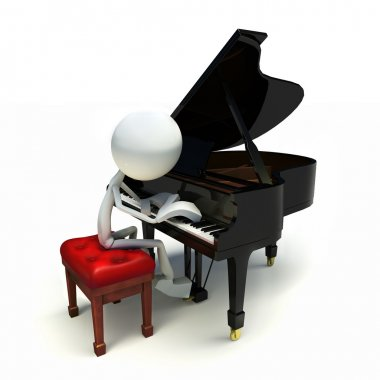 3D character playing the piano