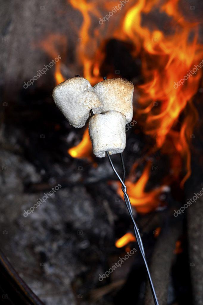 Roasting marshmallows.