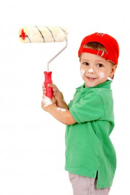 Little worker with paintroller