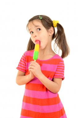 Little girl licking the color ice cream