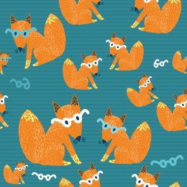 Seamless texture with a nice little red fox in glasses stock vector