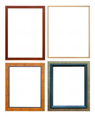 Set of wooden colored picture frame, isolated with clipping path