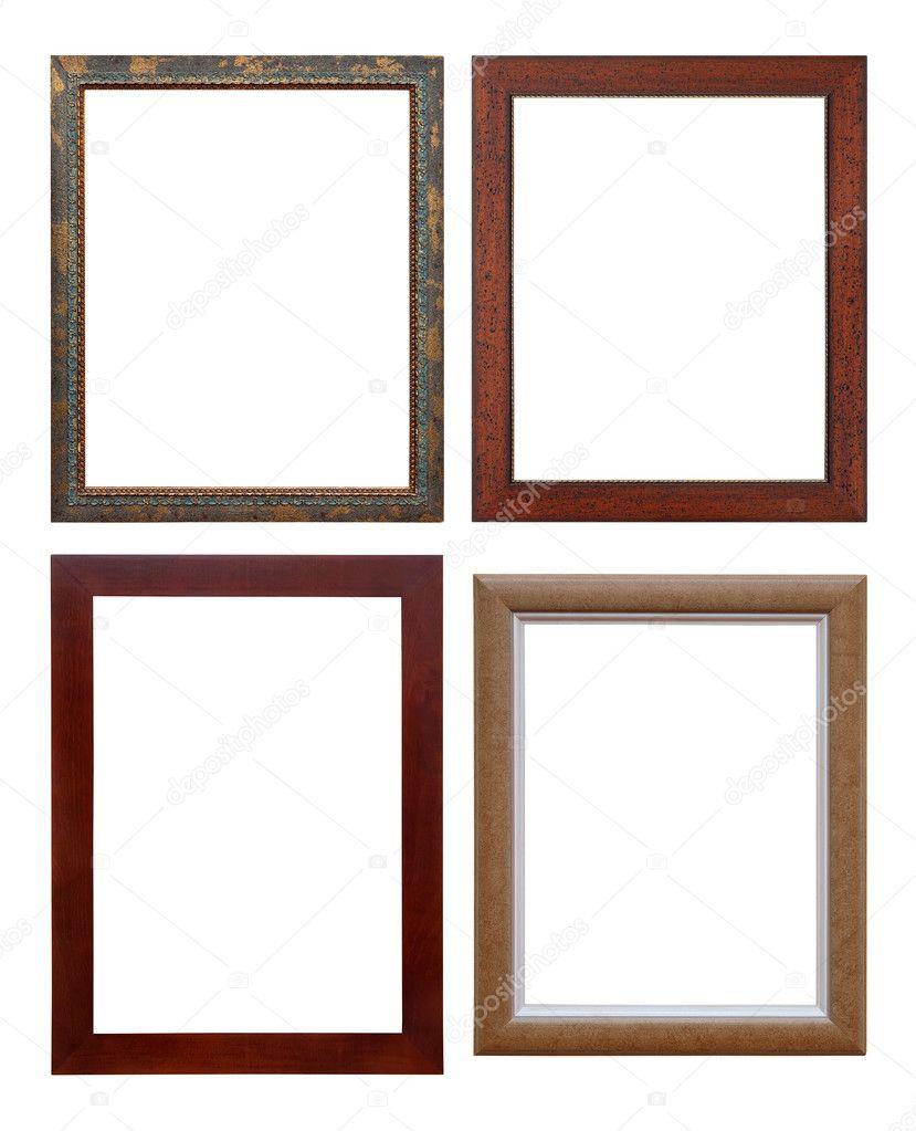 conjunto de marco de madera, aislado con trazado de recorte — Fotos ...