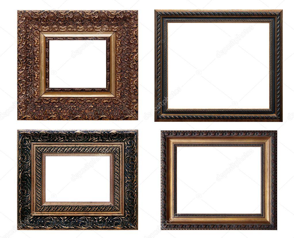 conjunto de marco de madera vintage, aislado con trazado de recorte ...