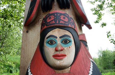 Totem pole face in Alaska Native Heritage Center