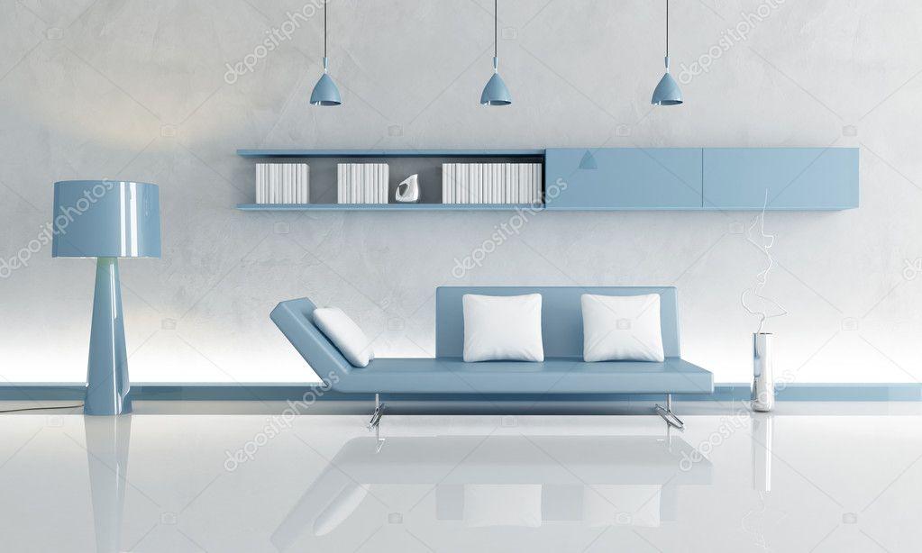 grijs en blauw woonkamer — Stockfoto © archideaphoto #4876874