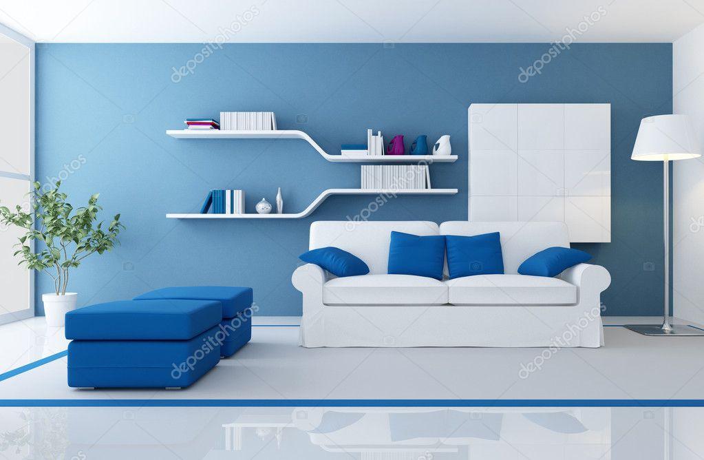 modern blauw interieur stockfoto