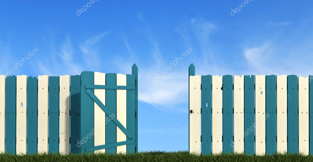 Blue andwhite wooden fence with gate on sky background
