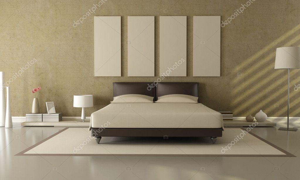 camera da letto marrone e beige — Foto Stock © archideaphoto #4880505