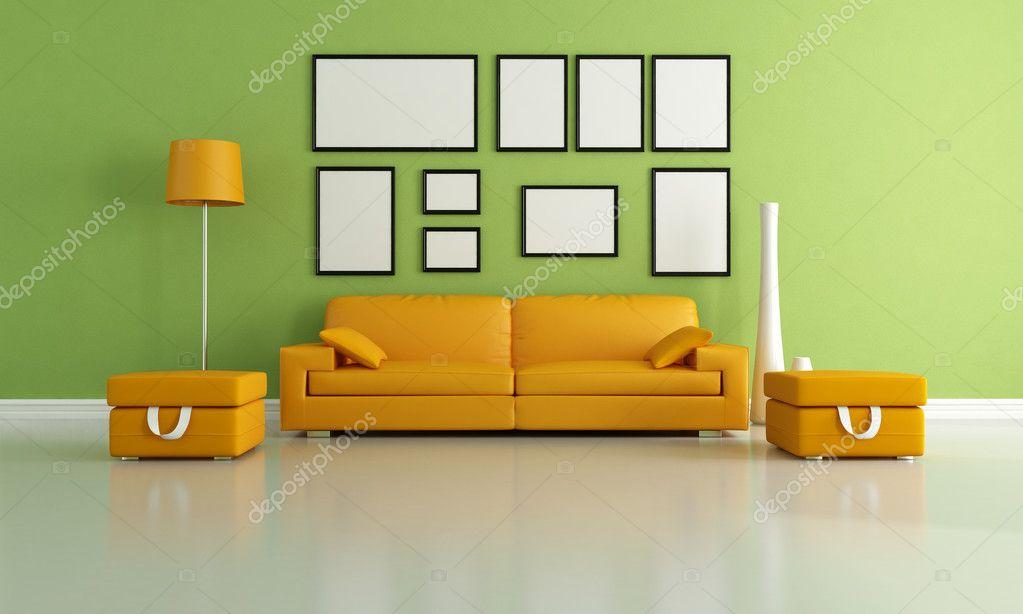 grün und orange-wohnzimmer — Stockfoto © archideaphoto #4880627