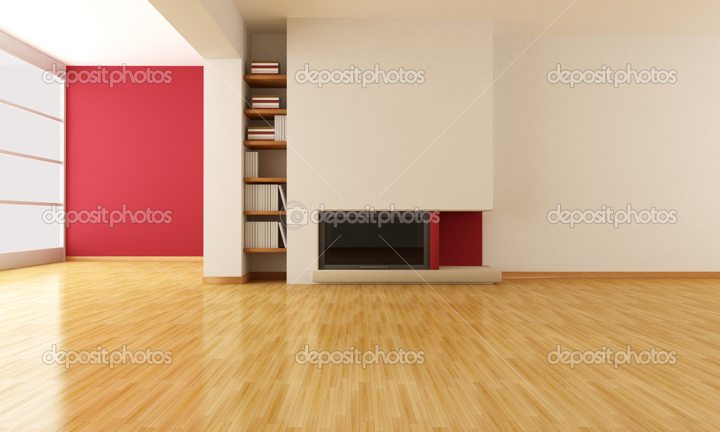 Empty Living Room With Minimalist Fireplace Stock Photo