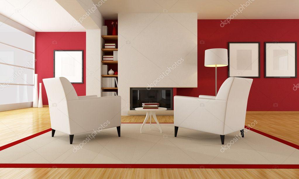 moderno salotto con camino — Foto Stock © archideaphoto #4884124