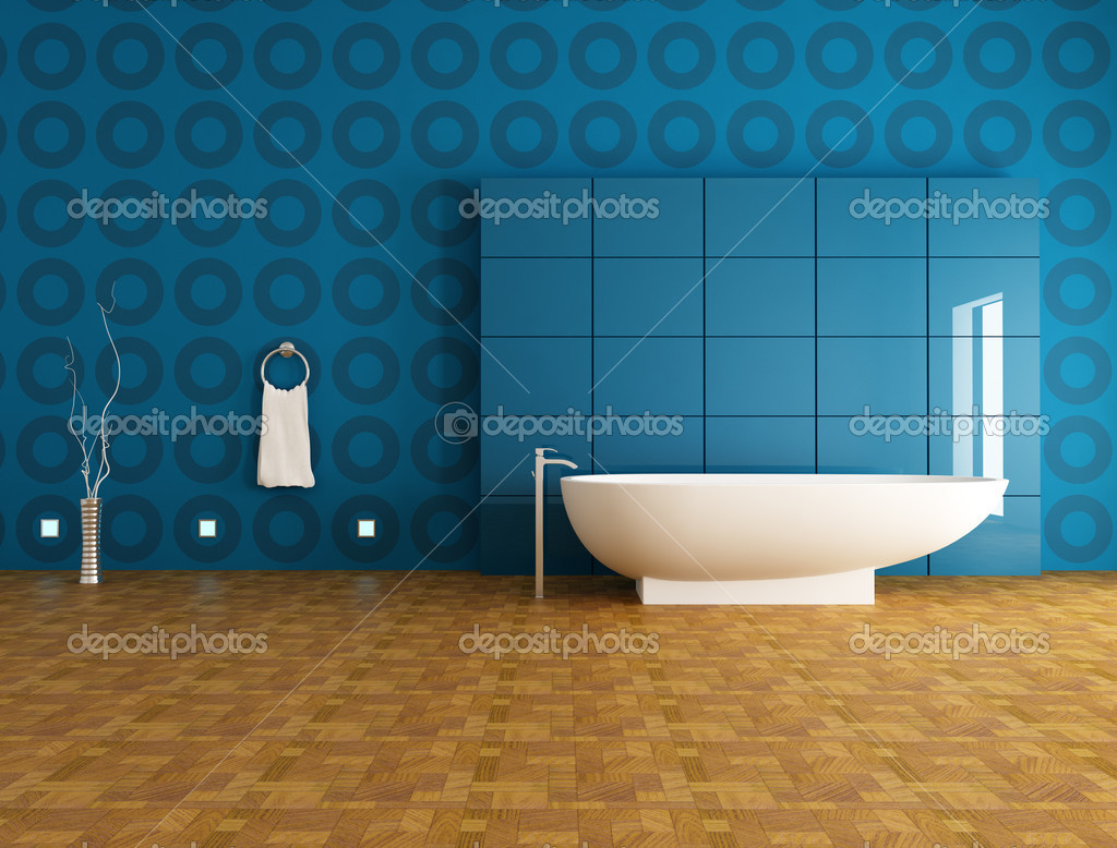 Contemporary Bathroom With Fashion Bathtub In Front A Blue Panel    Rendering U2014 Photo By Archideaphoto