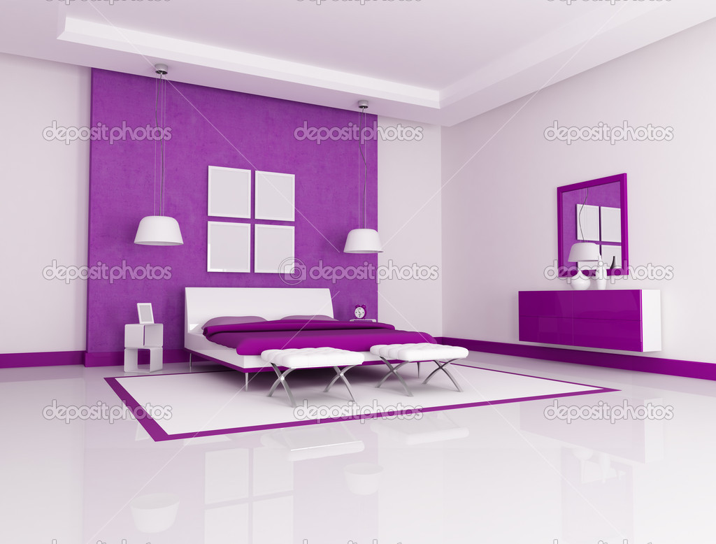 Luxe Paarse Slaapkamer : Paarse slaapkamer u stockfoto archideaphoto