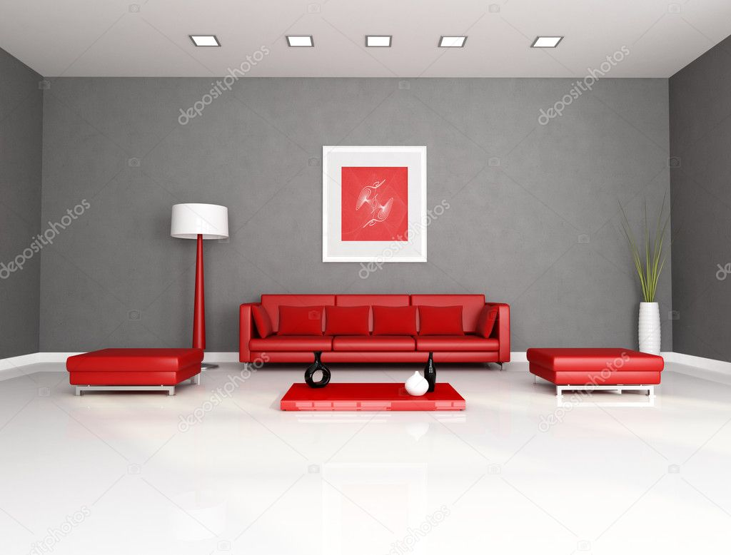 Sala De Estar De Vermelha E Cinza Stock Photo Archideaphoto 4904021 -> Sala Em Cinza E Vermelho