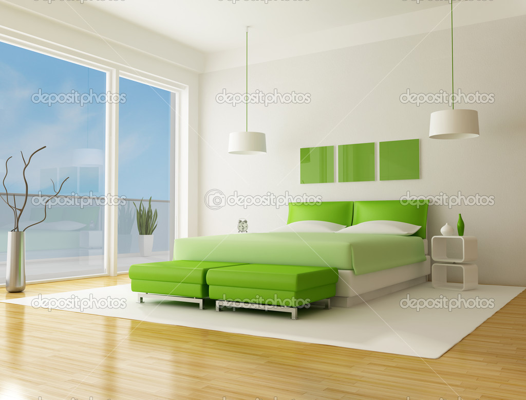 Green bedroom of a beach villa - rendering the sky on back ground is a my photo stock vector