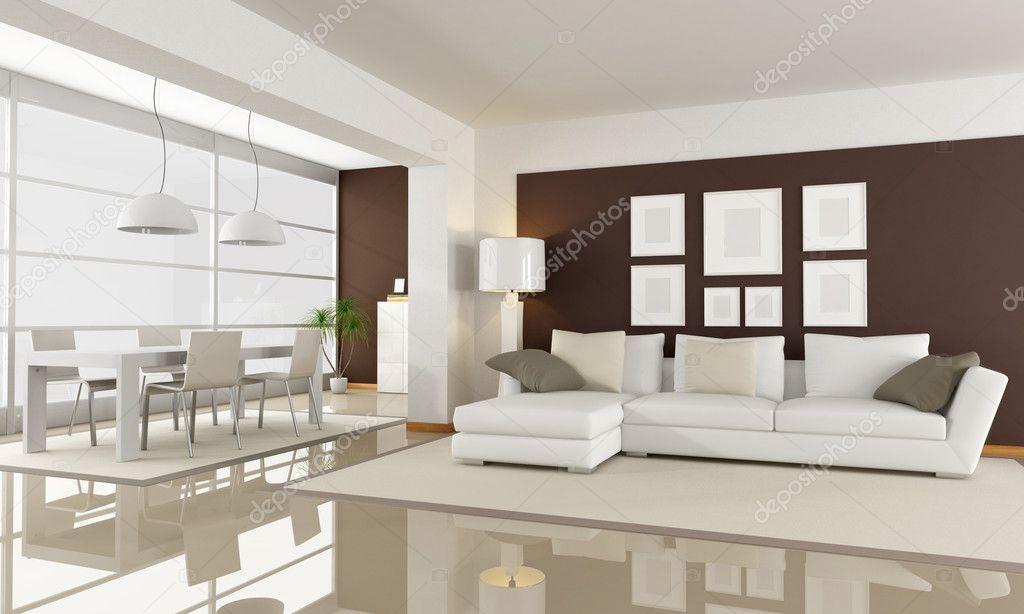 soggiorno bianco e marrone — Foto Stock © archideaphoto #4918744