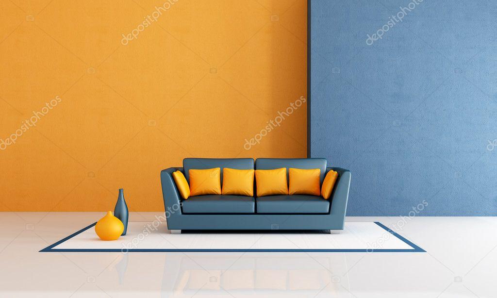 soggiorno blu e arancia — Foto Stock © archideaphoto #4937109