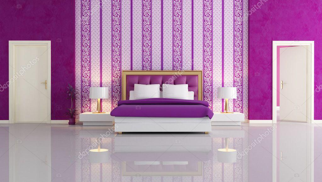 Luxe Paarse Slaapkamer : Luxe paarse slaapkamer u stockfoto archideaphoto