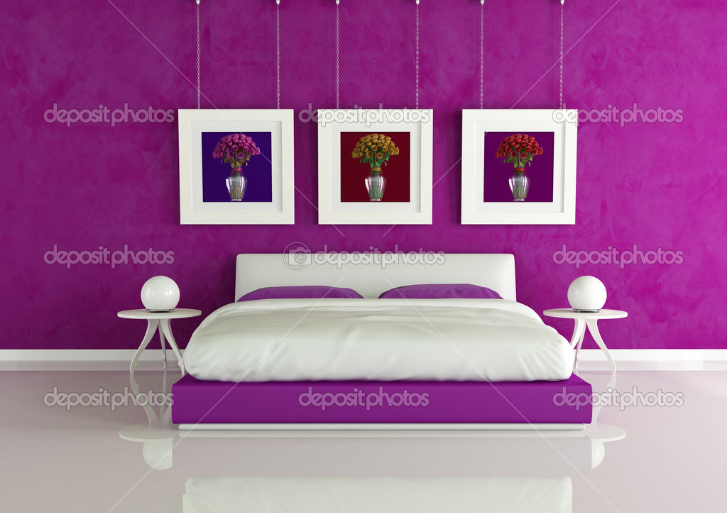 Lila Moderne Schlafzimmer U2014 Stockfoto