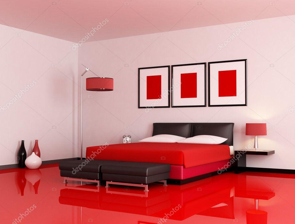 camera da letto moderna rosso e nero — Foto Stock © archideaphoto ...