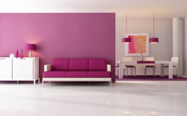 Contemporary living room with dining space - rendering - the art work on wall is a my composition stock vector