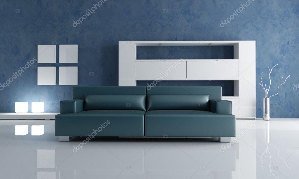canapé bleu marine et blanc étagère vide — Photographie ...