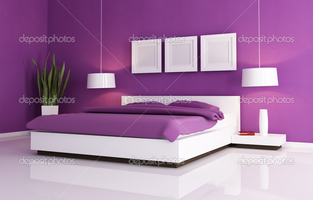 Paarse Accessoires Slaapkamer : Paarse en witte slaapkamer u stockfoto archideaphoto