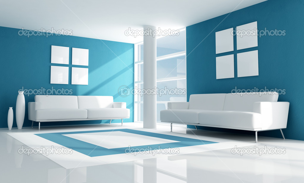Blue modern living room stock photo archideaphoto 4954544 for Photo salon moderne