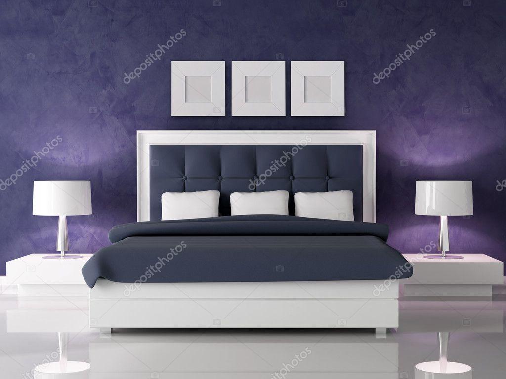 Paarse Accessoires Slaapkamer : Donkere paarse slaapkamer u stockfoto archideaphoto
