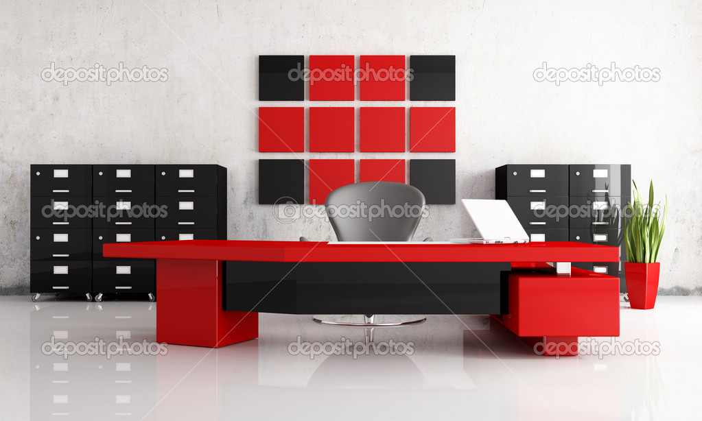 Red and black modern office — Stock Photo © archideaphoto #4967753
