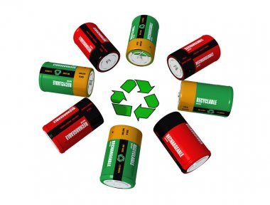 Rechargeable batterys and recycling symbol