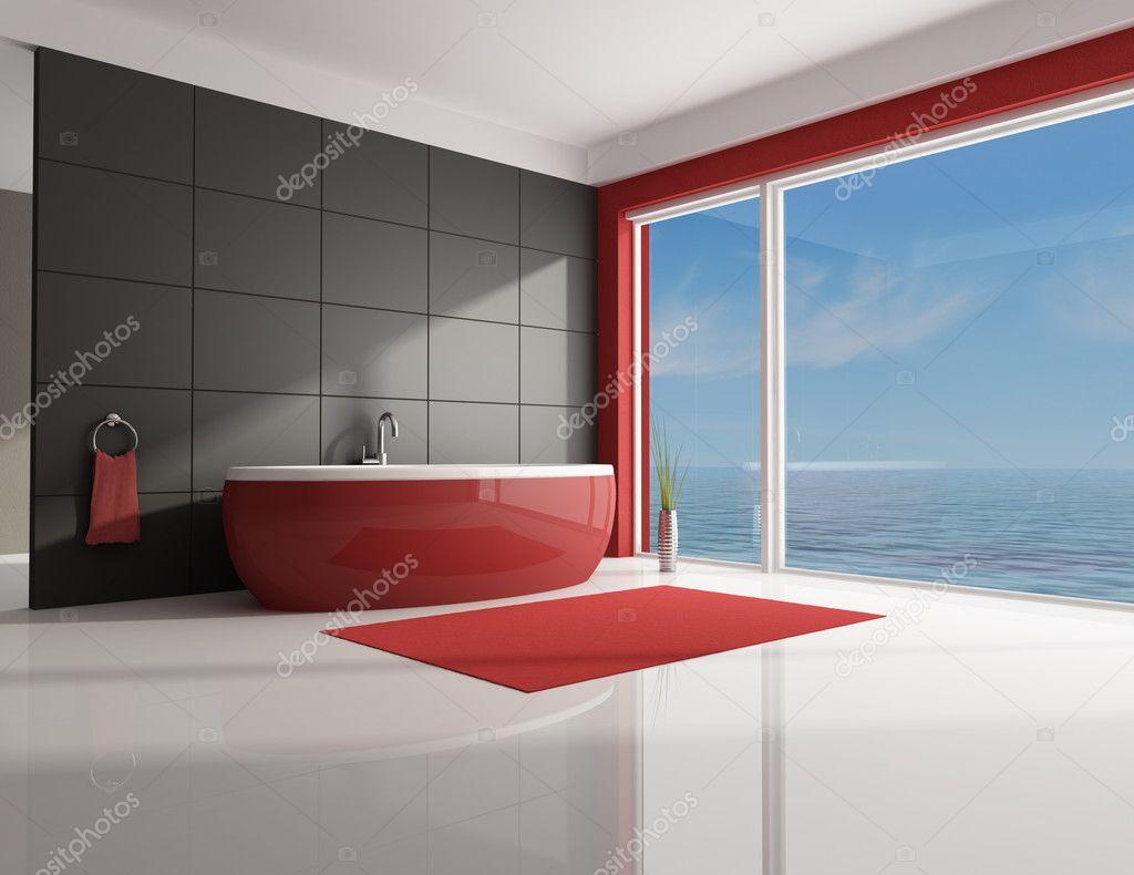 minimalistische rode en bruine badkamer — Stockfoto © archideaphoto ...