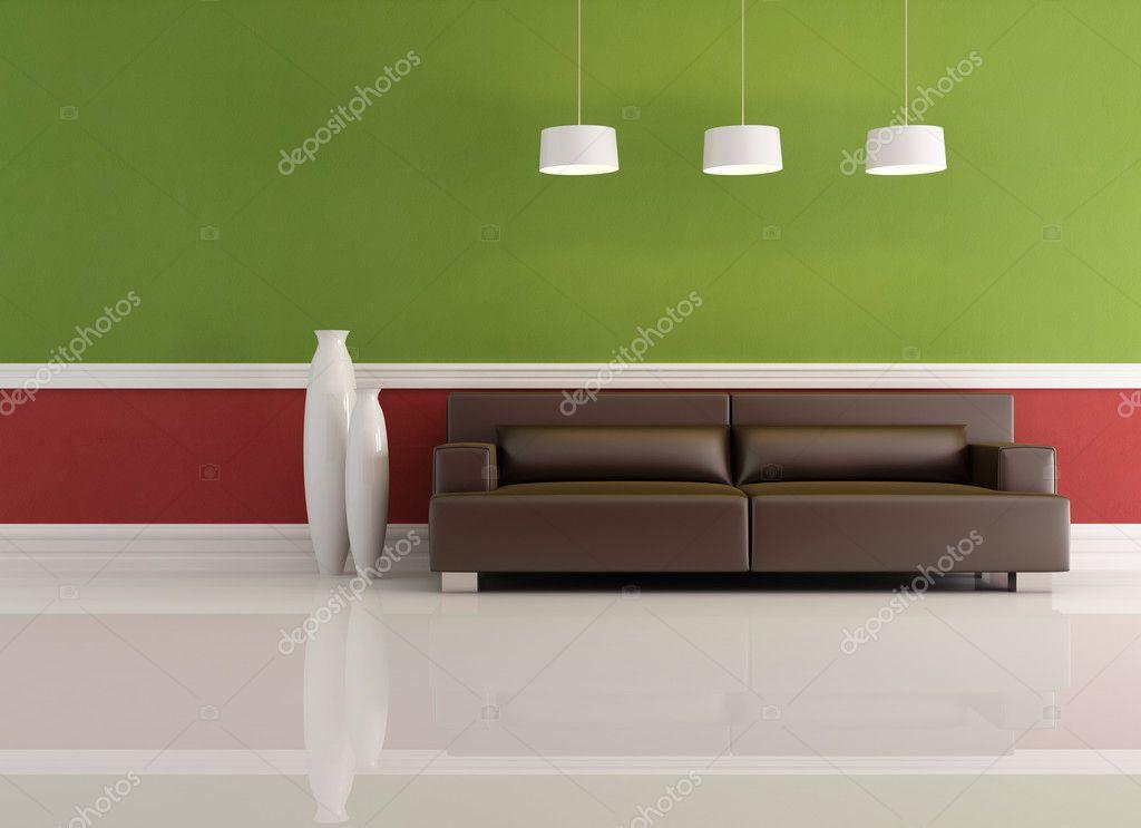 Rote und grüne Wohnzimmer — Stockfoto © archideaphoto #4987406