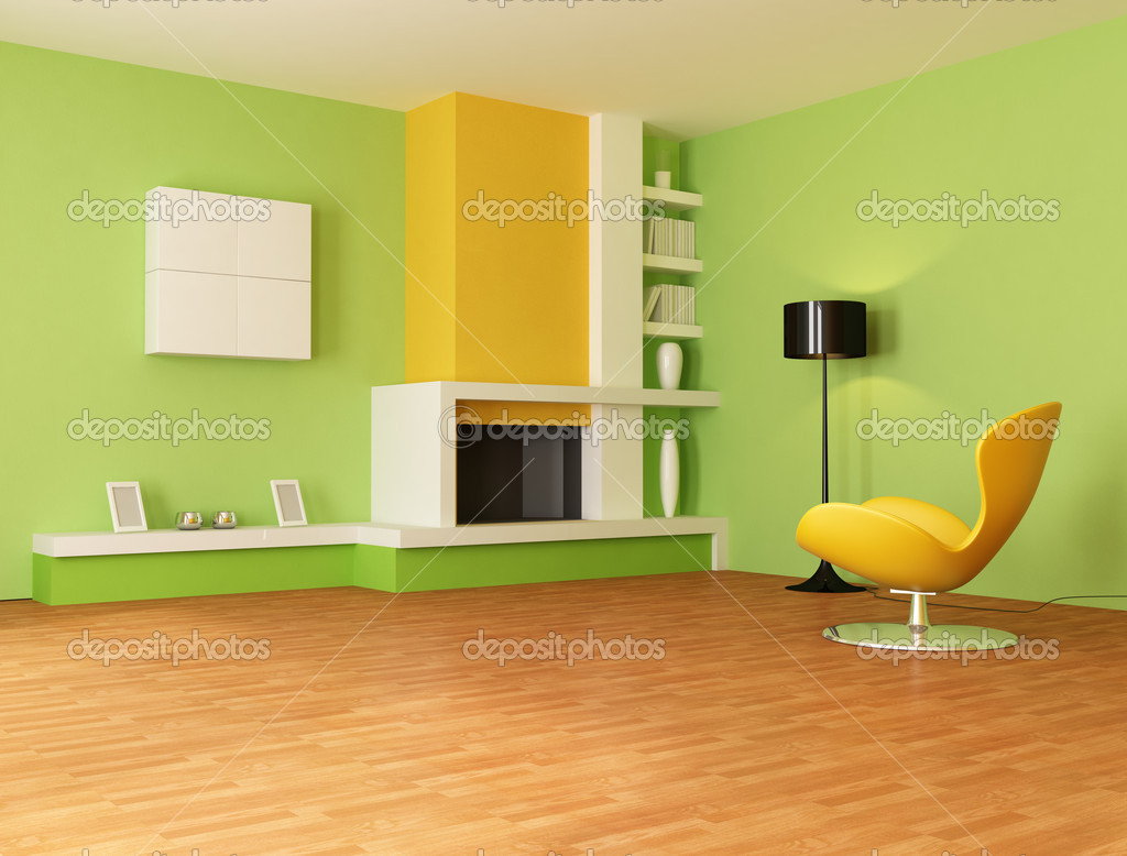Green and orange living room — Stock Photo © archideaphoto #4987475