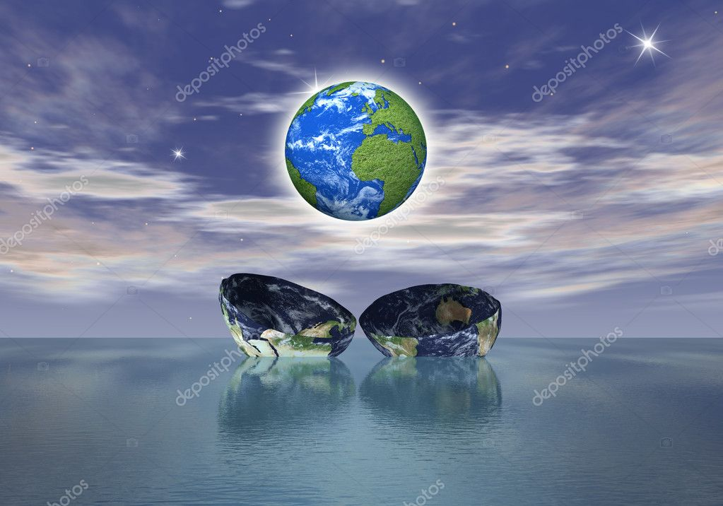 The birth of a new globe over the ocean
