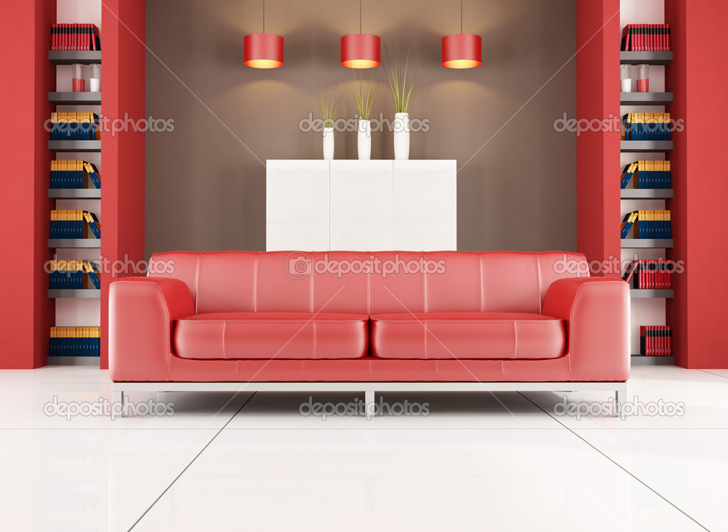 Red and brown contemporary living room — Stock Photo © archideaphoto ...