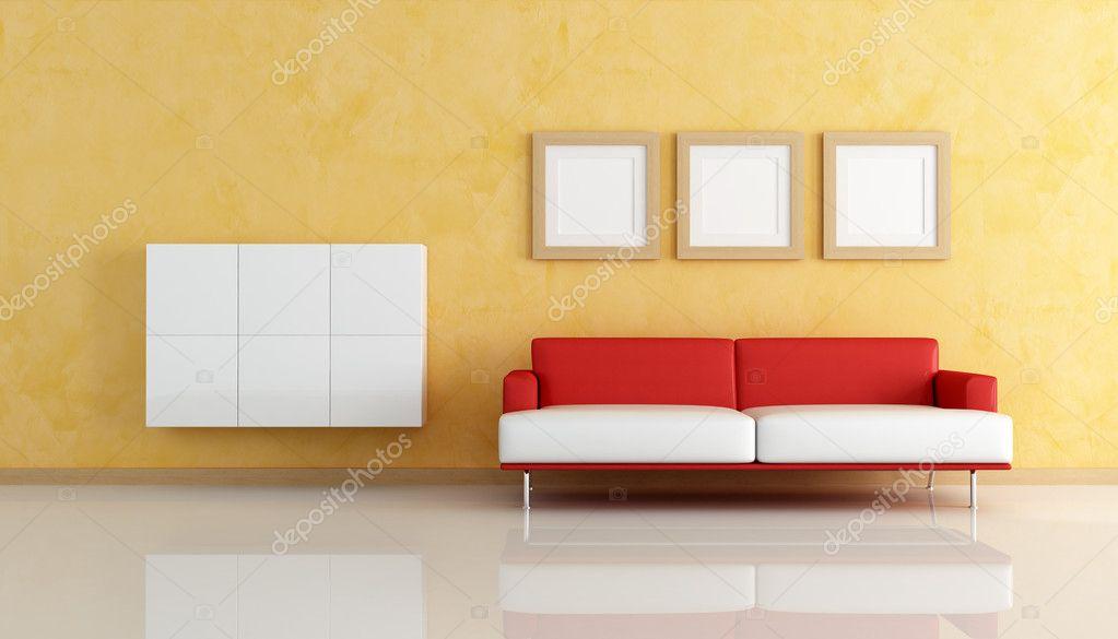 roten und weißen Sofa in einem orange Wohnzimmer — Stockfoto ...