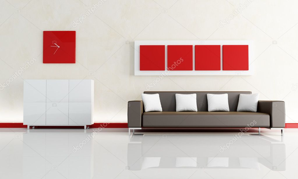 canapé marron dans un salon modern — Photographie ...