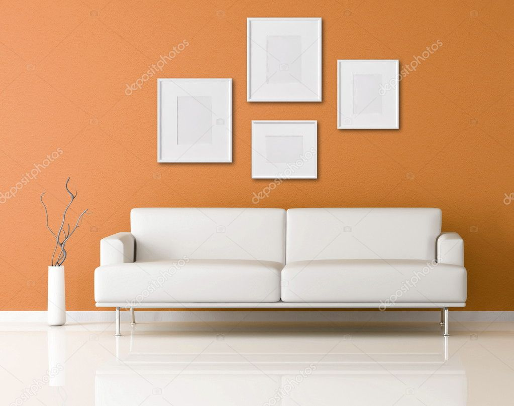 white sofa in a orange living-room — stock photo © archideaphoto