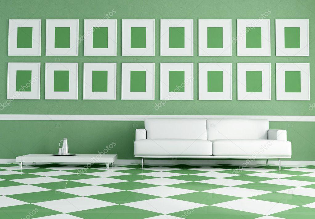 Satranç Tahtası Yeşil Ve Beyaz Zemin üzerine Beyaz Kanepe Stok
