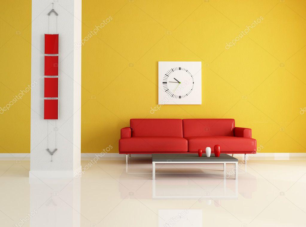 Salon moderne en rouge et orange — Photographie ...